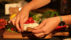 Girl makes sandwiches for the festive table Stock Footage