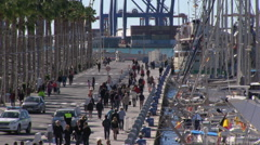 Malaga Harbor Promenade - stock footage