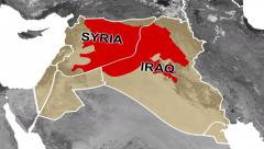 4K (2160) Map of Middle East showing spread of ISIS/ISIL/Daesh Stock Footage