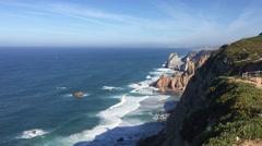 Rocky coastline of Cabo da Roca Stock Footage