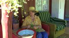 Elderly woman reap chamomile in bowl in armchair outdoors. 4K Stock Footage