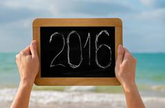 chalkboard and digits 2016 - stock photo