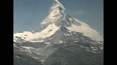 Vintage 16mm film, 1955, Switzerland, Matterhorn b-roll from Gornergratbahn - stock footage