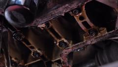 The rotation of the crankshaft of the internal combustion engine - stock footage