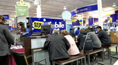 Best buy's black friday sale with shopper asking promotion cellphone plan to buy - stock footage