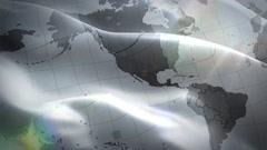World map waving white flag Stock Footage