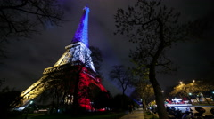 A Timelapse View on Eiffel Tower Paris in France by Night Stock Footage