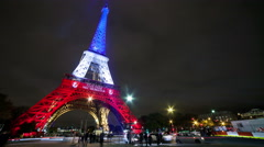 A Timelapse View on Eiffel Tower Paris in France by Night - stock footage