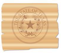 Texan State Seal Brand - stock illustration