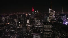New York skyline view from Rockfeller Center at night Stock Footage