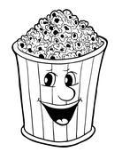 Bucket of popcorn - stock illustration