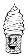 Cream cornet with smile - stock illustration