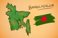 Bangladesh Map and National Flag Vector - stock illustration