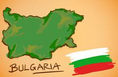 Bulgaria Map and National Flag Vector - stock illustration