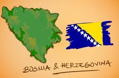 Bosnia & Herzegovina Map and National Flag Vector - stock illustration