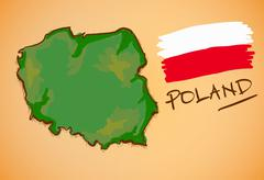 Stock Illustration of Poland Map and National Flag Vector