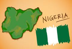 Nigeria Map and National Flag Vector - stock illustration
