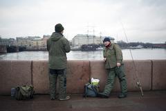 Stock Photo of Fisherman in Neva river in St. Petersburg