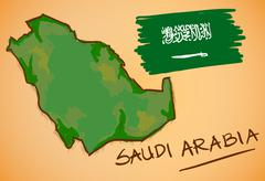 Saudi Arabia Map and National Flag Vector - stock illustration