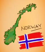 Norway Map and National Flag Vector - stock illustration