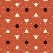 Children's abstract ethnic pattern with bright oranges - stock illustration