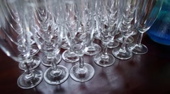 Empty wine glasses on a table Stock Footage