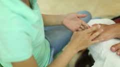 Male pedicure at beauty salon Stock Footage