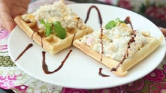 Waffles with cottage cheese and fruit Stock Footage