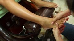 Female pedicure in the spa salon Stock Footage