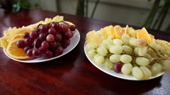 Fruit on the festive table Stock Footage