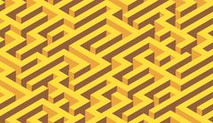 The maze, yeloow labyrinth - endless - stock illustration