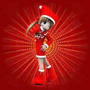 Anime girl in Christmas dress Piirros