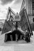 Metro entrance in Warsaw city in Poland - stock photo