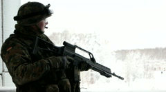German Soldier silhouette. Bundeswehr. Soldier is going to attack Stock Footage