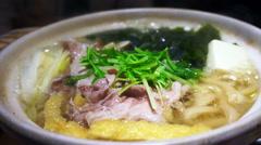 Video of Meat hot pot, japanese food, nabe sukiyaki style Stock Footage