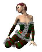 Elf Santa helper - stock illustration