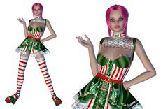 Stock Illustration of Girl in Christmas outfit