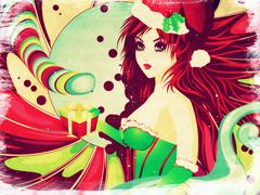 Grunge candy background with Santa girl - stock illustration