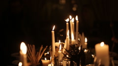 holiday candles for Halloween - stock footage
