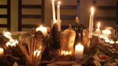 Hallowen decor table Stock Footage
