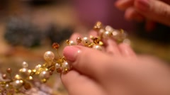 Bijouterie Market -Master takes  jewelry in hands Stock Footage