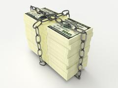 Stack of money wrapped chain - stock illustration