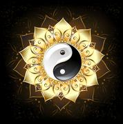 Stock Illustration of yin yang golden lotus