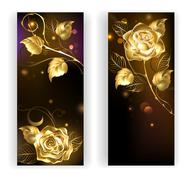 Two banners with gold roses - stock illustration