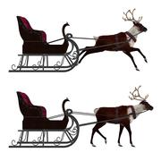 Reindeer with sleigh - stock illustration