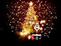 Santa Claus with Christmas tree - stock illustration