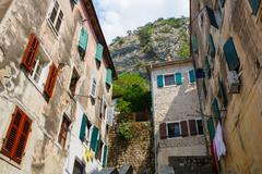 View on old town of Kotor UNESCO twon in Montenegro. Stock Photos