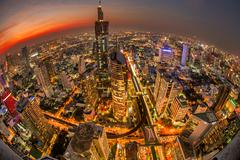 Fisheye view of Bangkok at sunset, Thailand - stock photo