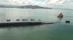 Malaysia Kota Kinabalu, November 2015, USS Ohio Guided SubmarineTilt Overview Stock Footage