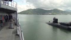 Malaysia Kota Kinabalu, November 2015, USS Ohio Guided Submarine Drive Harbour Stock Footage